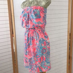Lilly Pulitzer strapless cotton dress pink & blue